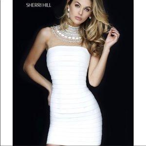 Sherri Hill White Bandage Dress Size 2